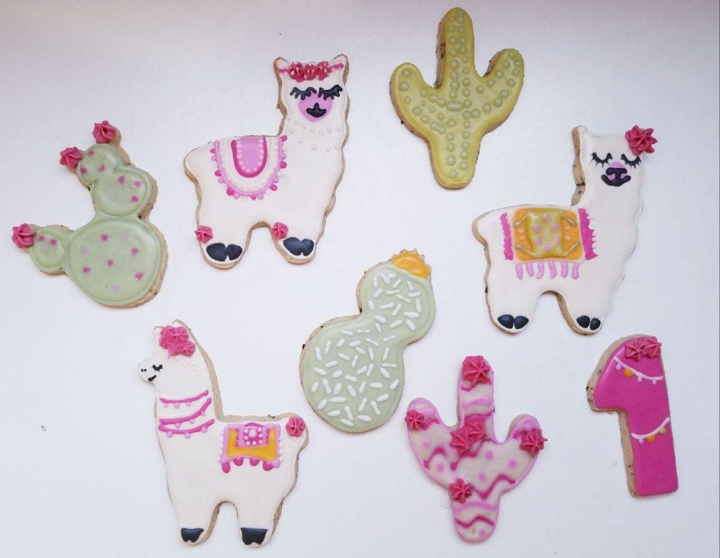 llama and cactus cookies