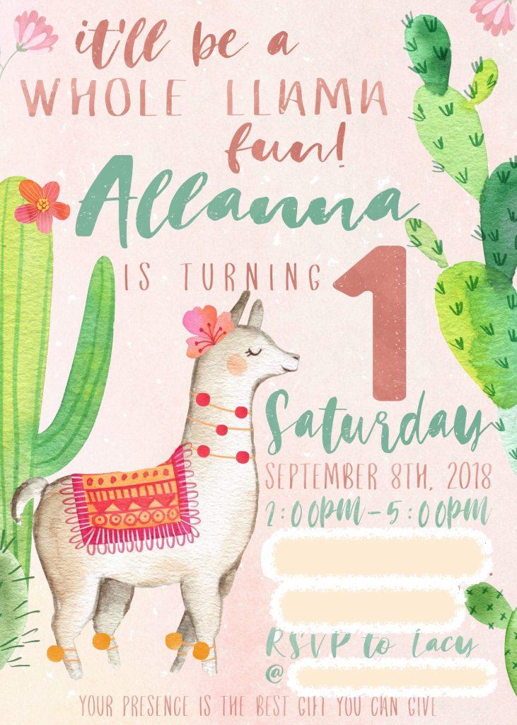 llama birthday party invitation front