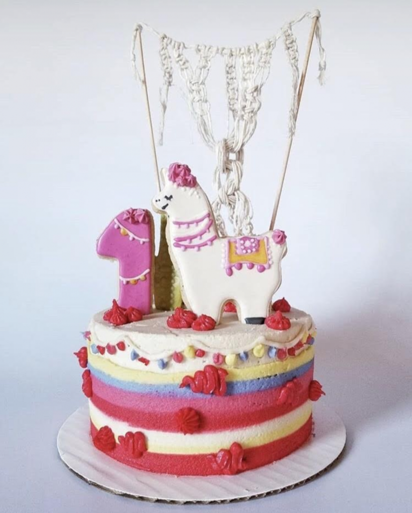 llama birthday party cake