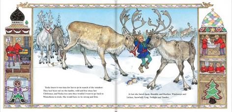 Illustration from The Wild Christmas Reindeer (Jan Brett)