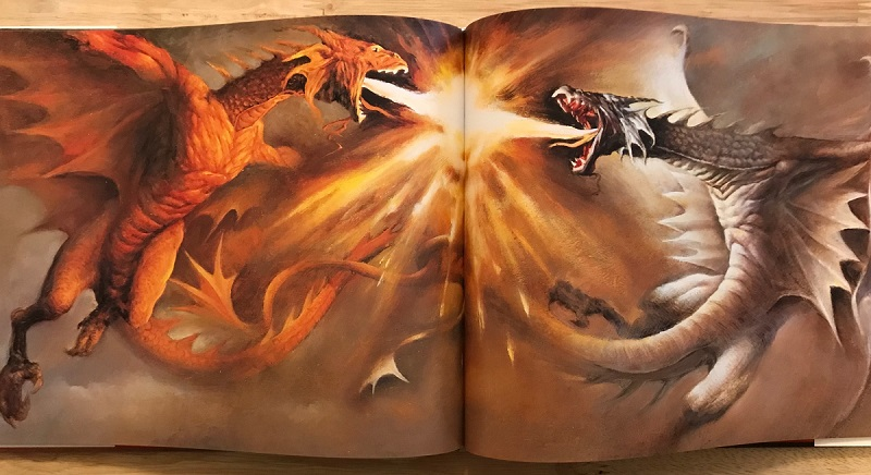 Interior art by Li Ming, from Merlin and the Dragons by Jane Yolen