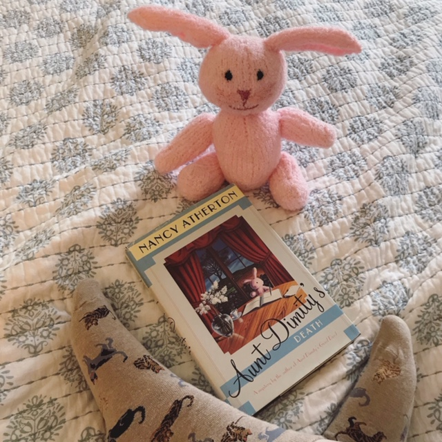 Photo: hardcover copy of Aunt Dimity's Death, with pink knitted rabbit