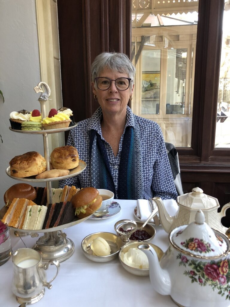 Author Vicki Delany, at afternoon tea
