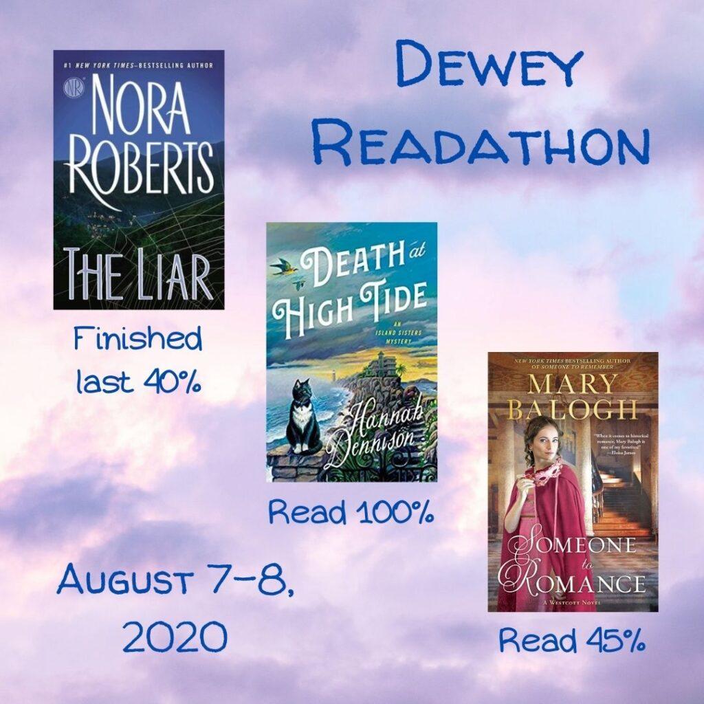 Lark's final stats for the Dewey 24-Hour Readathon