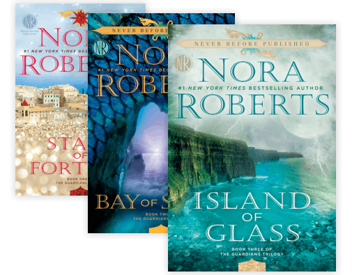 Book covers: Guardians Trilogy (Stars of Fortune, Bay of Sighs, Island of Glass), by Nora Roberts