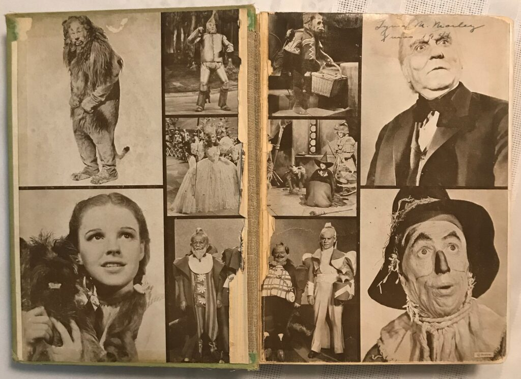 The Wizard of Oz, by L. Frank Baum (1939 edition) - endpapers showing stills from the movie