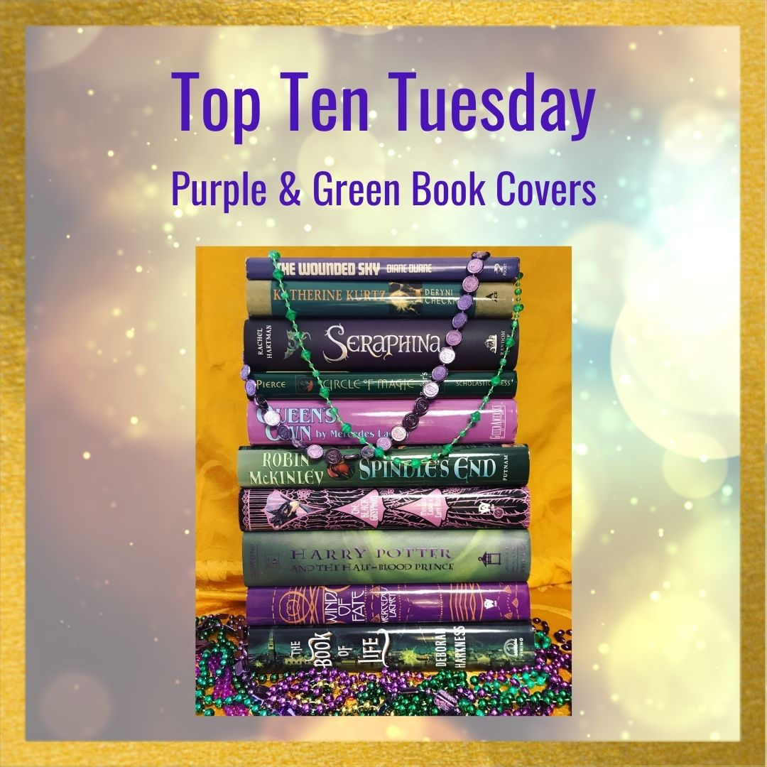 Top Ten Tuesday Book Stack: Purple and Green Fantasy Covers