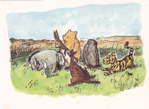 Winnie The Pooh and friends. Illustration by E. H. Shepard
