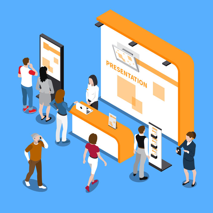 People looking at promotion stands at exhibition isometric composition on blue background 3d vector illustration