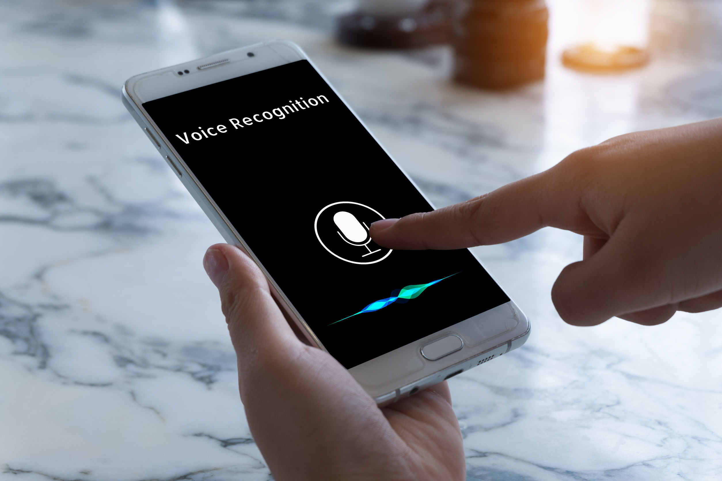 Voice recognition , speech detect and deep learning concept. Application on mobile phone screen.