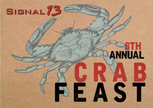 a logo image of a crab for the Signal 13 foundation 6th annual crab fest