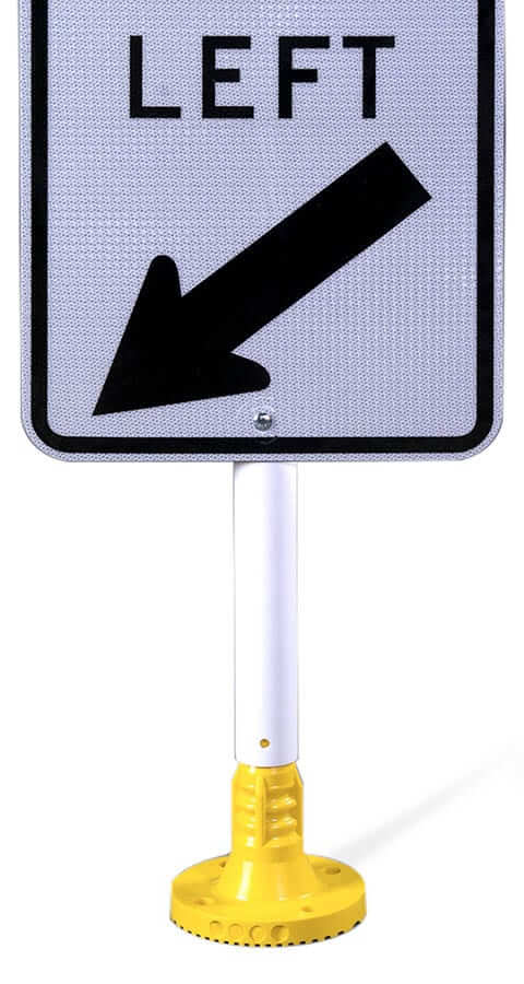 closeup-flexible-post-with-left-turn-sign