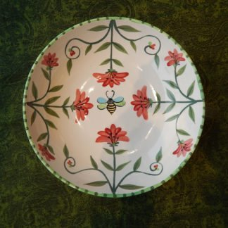 Danasimson.com Just Bee bowl, hand painted red floral with a honey bee.