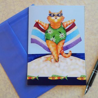 "Danasimson.com Gift card ""Life's beach"" beach cat with towel with vellum envelope"