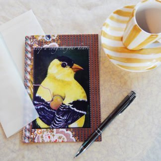 """Danasimson.com Gift card """"Keep a song in your heart"""" finch with heart with vellum envelope"""
