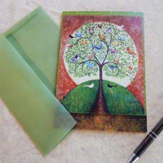 "Danasimson.com Gift card ""Many Birds One Tree"" with vellum envelope"