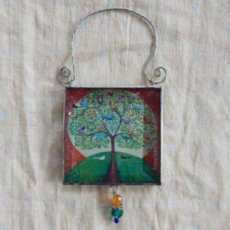 Danasimson.com double sided ornament many birds one tree image