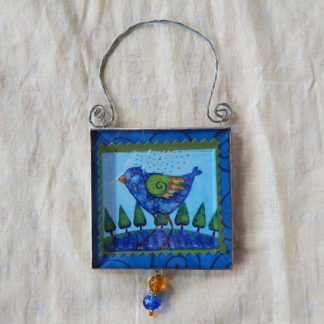 Danasimson.com double sided ornament Release your creative bird front