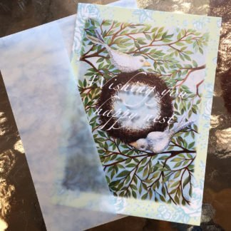 note card with two birds building a nest- says wishing you happy nest
