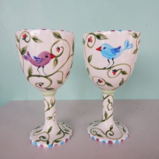 Danasimson.com Wedding goblets with birds over a floral background. Customizable.