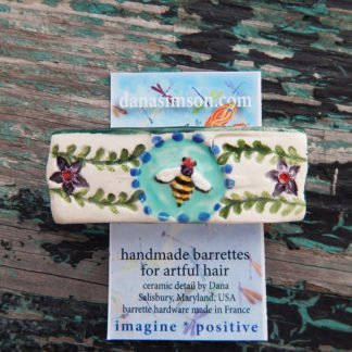 Honey bee french barrette on tag. ceramic