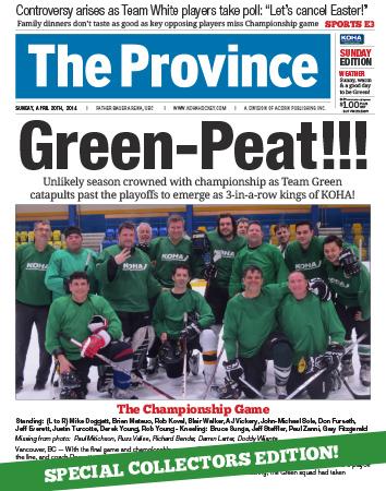 KOHA :: Province Article :: Team Green Champs 2014