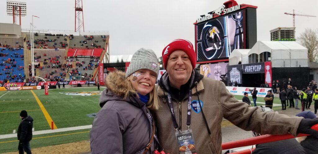 Thank you - David and Lisa at Stampeders game