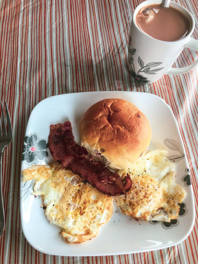 Quarantine - breakfast of eggs and bacon