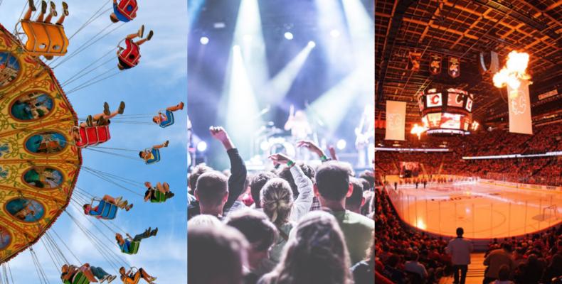 Look forward - collage of concert, restaurant, amusement park
