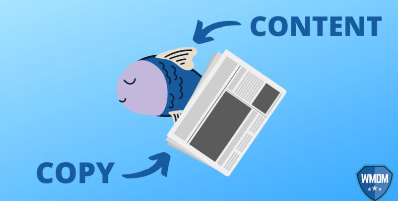Copy vs content - A fish and a newspaper