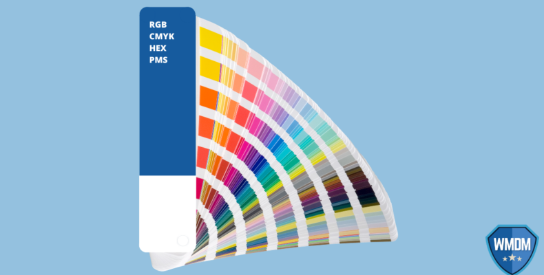 RGB CMYK HEX and PMS. Colour palette book over blue background.