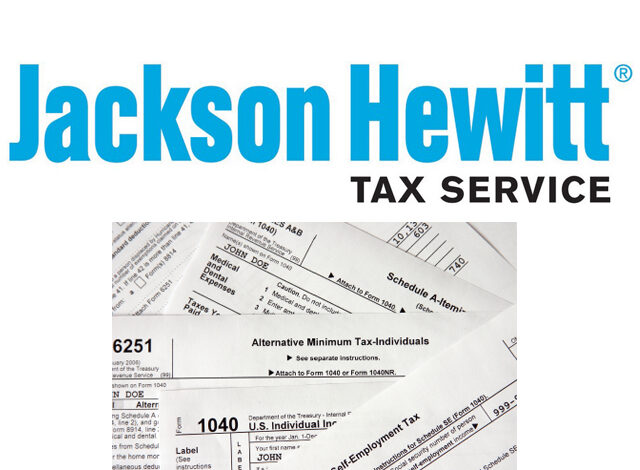 Image of Jackson Hewitt logo and tax forms