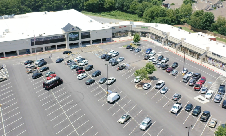 Overhead image of a shopping center
