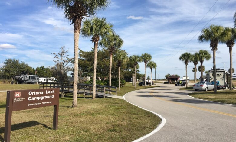 Image of the campground entrance at the USACE project in Florida.