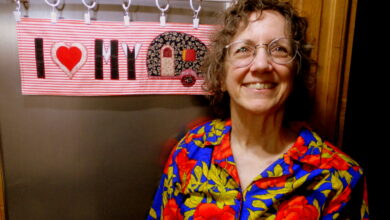 Photo of Denise Fuller describes her RV experience and motivation for launching Camp Quilter Kits in Episode 115