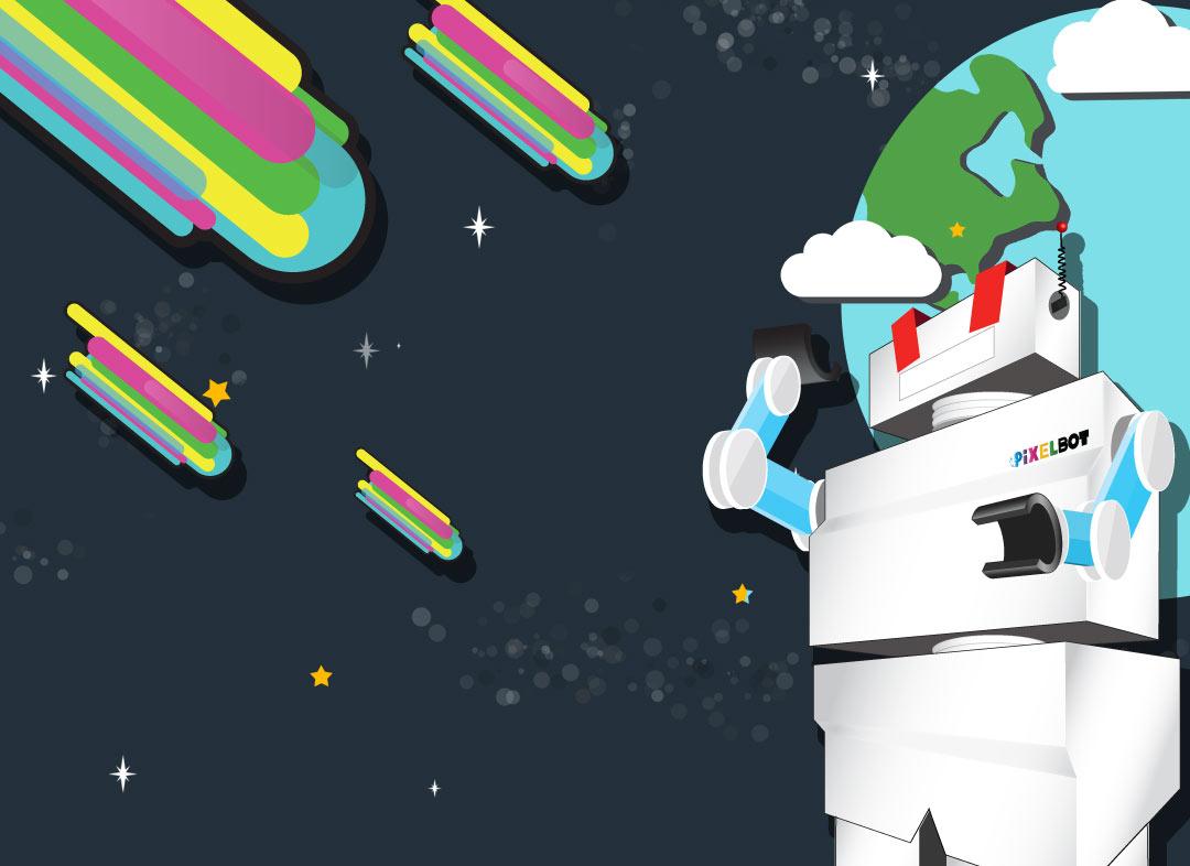 Pixelbot Concept Illustration