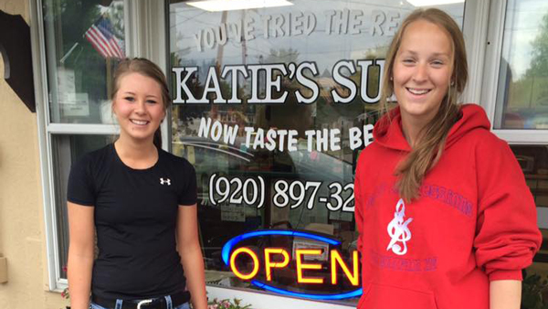 Girls outside of Katie's Subs