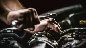 Mechanic repairing a transmission in Chicago
