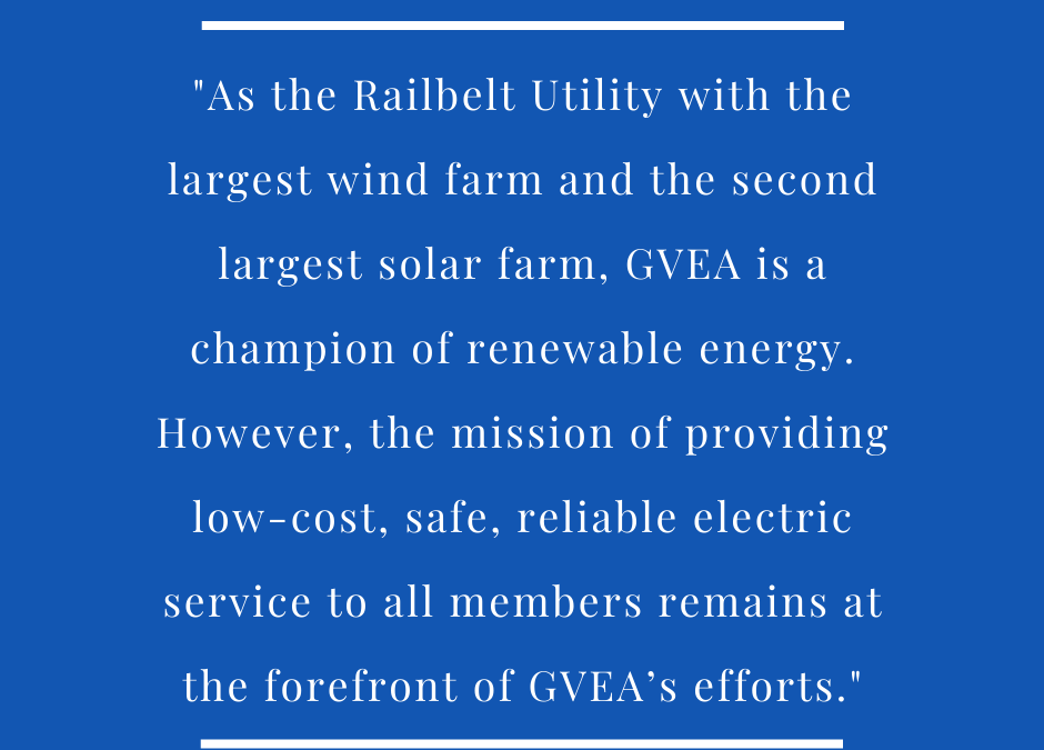 GVEA Evaluating Proposed Wind Project in Delta; which coincides with release of renewable energy.