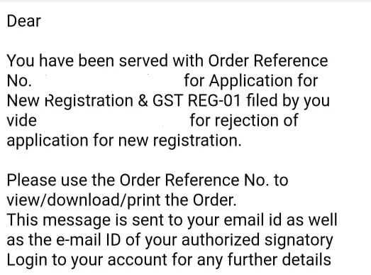 Order of rejection of gst registration