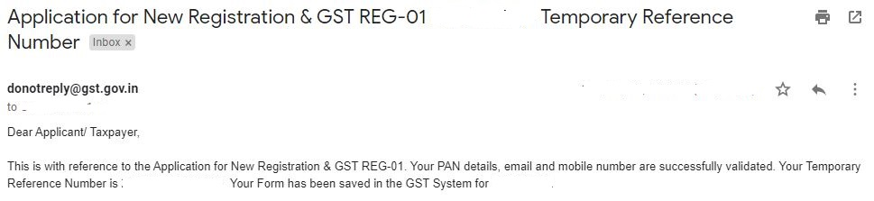 Temporary reference Number in GST