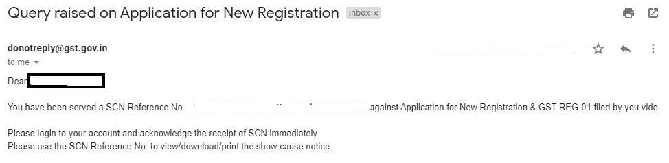 GST SCN Notice received