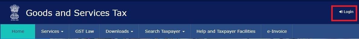 Login Button on GST portal