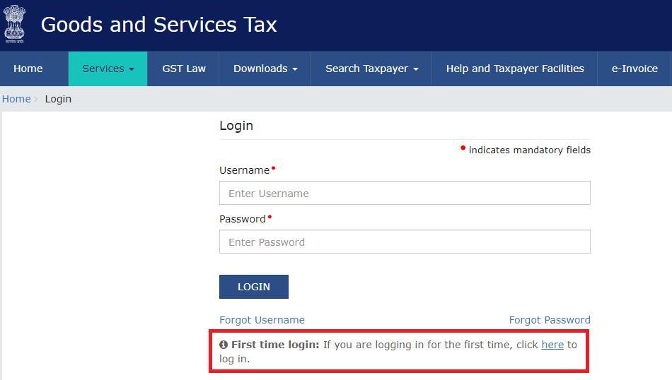 first login on gst portal