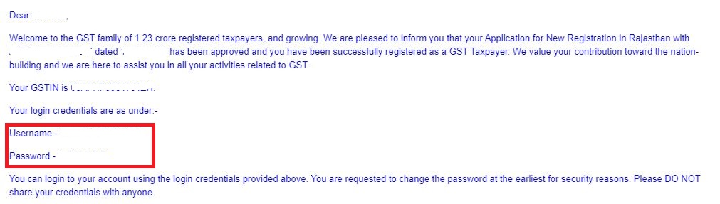 Provisional ID and Password on GST portal