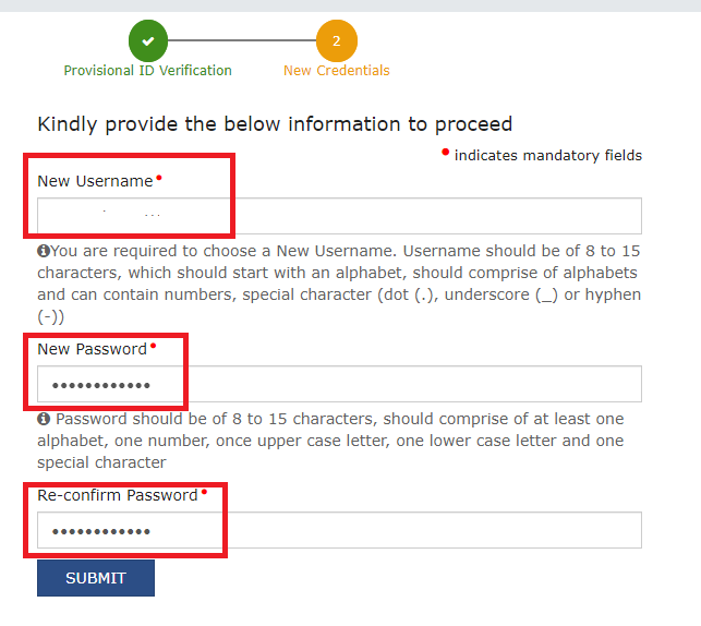 New username and password on GST portal