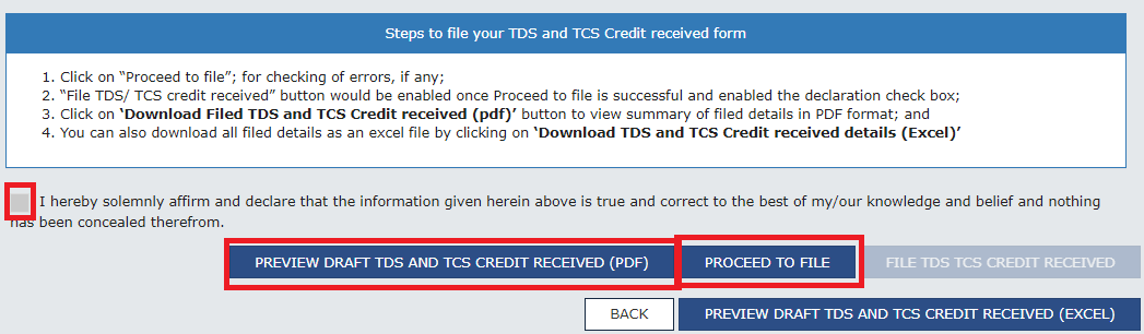 Proceed to file in tcs