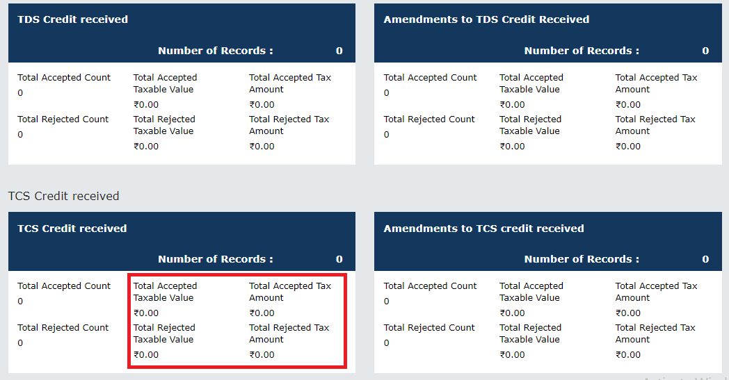 TCS and TDS credit received main page