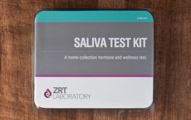 health care services provided: at home testing hits by zrt labs. pictured here: saliva test kit, which can be used to run a complete hormone panel.