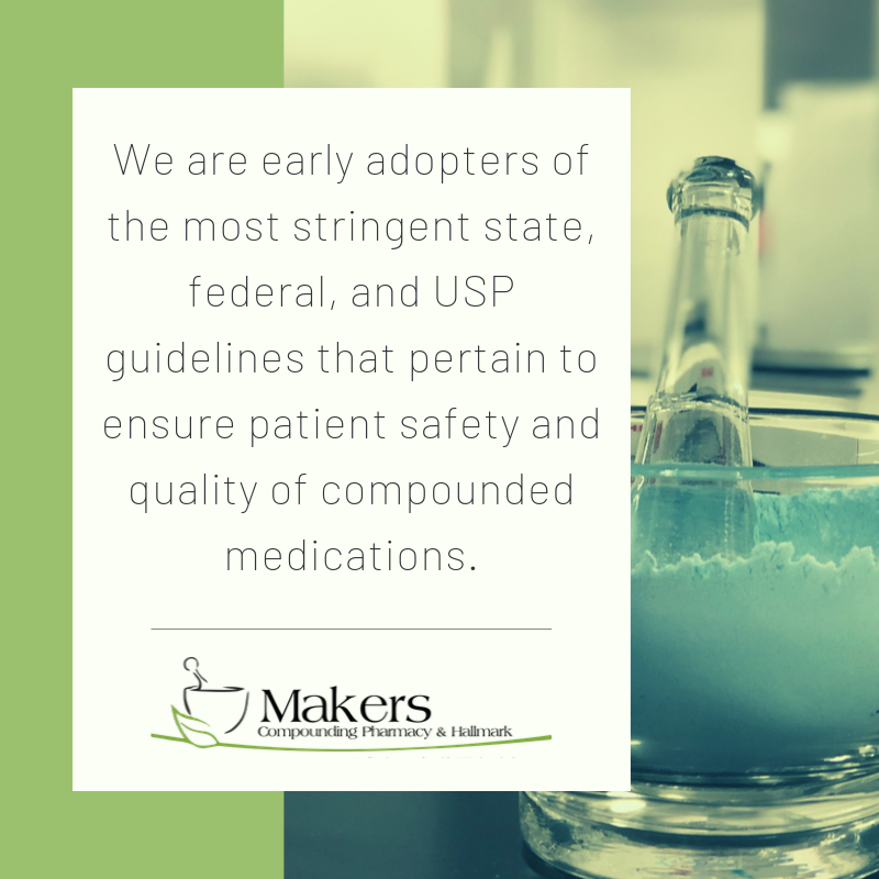 accredited compounding pharmacy statement about being compliant with state, federal, and USP guidelines.